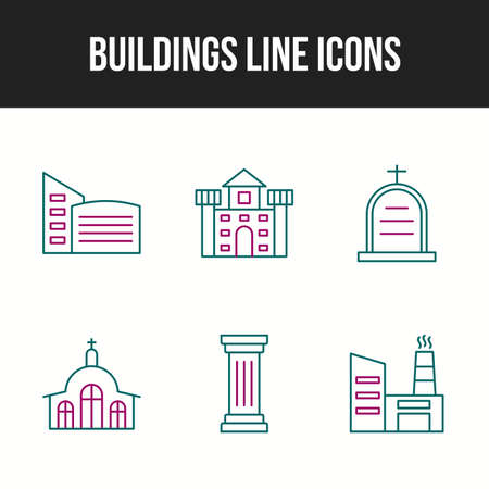 Beautiful buildings vector icon set for commercial use