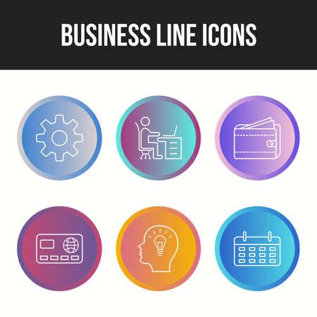 6 Unique Business Line vector icon set