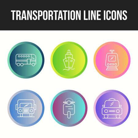 Beautiful Transportation unique line 6  icons set