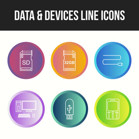 Unique Data and devices vector icon set