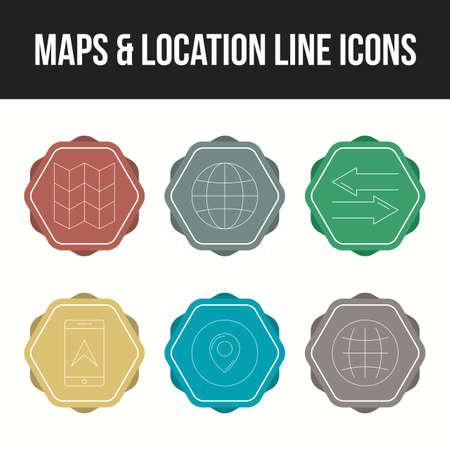 Unique set of maps & location 6 line icons Ilustração