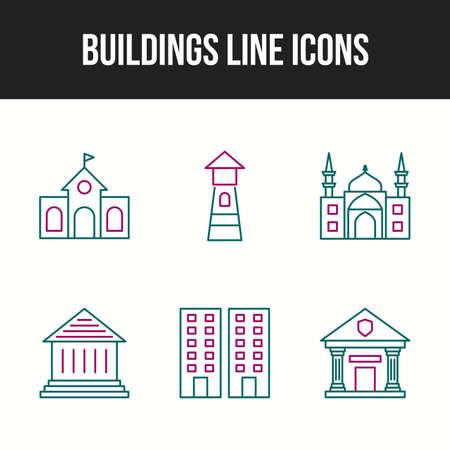 Unique Building and landmarks vector icon set
