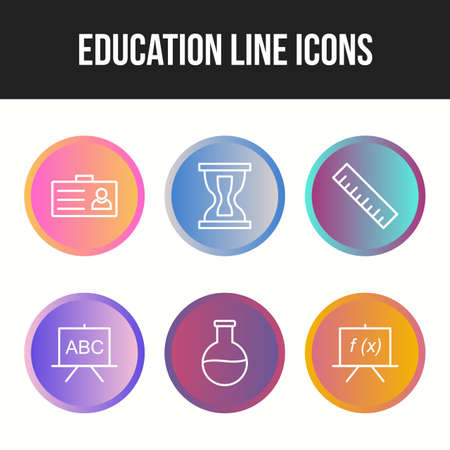 Beautiful Six Education & Schooling Line Icon set