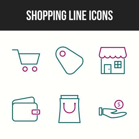 Beautiful shopping six icons in one set Ilustração