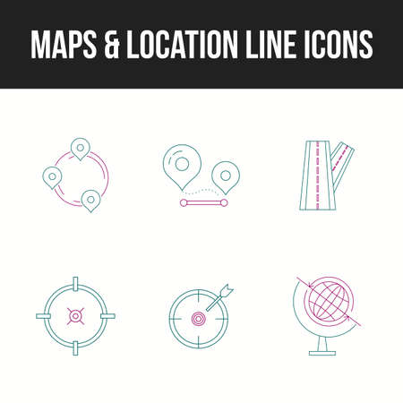 Unique icon set of maps & location line icons Ilustração