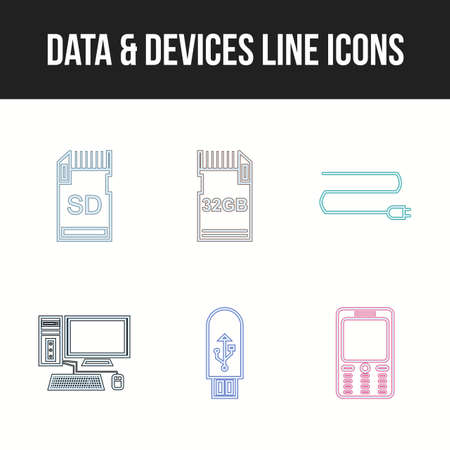 Unique Data and devices vector icon set