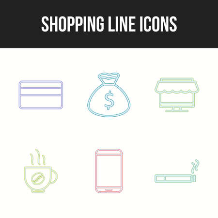 Icon set of six unique shopping line icons