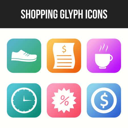 Beautiful six shopping & business glyph icon set