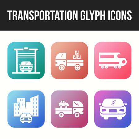 Icon Set of Unique Transportation Glyph Icon