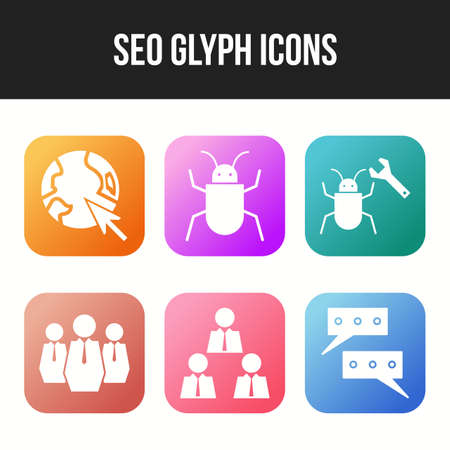 6 Beautiful Business and Seo icon set 向量圖像