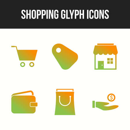 Beautiful shopping six icons in one set 向量圖像