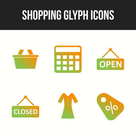 Unique icon set of shopping glyph icons 向量圖像