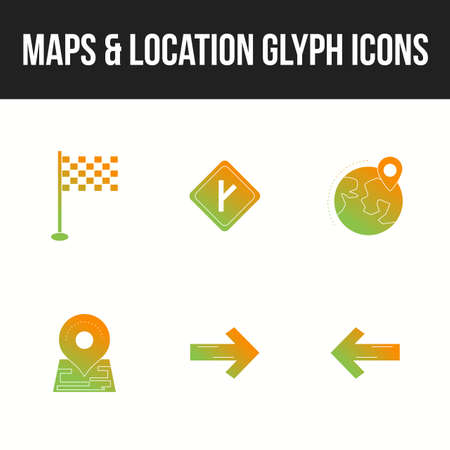 Set of beautiful maps & location glyph icons 向量圖像