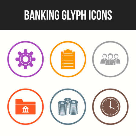 6 Beautiful Banking Glyph vector icon set