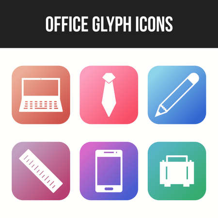 Unique icon set of office glyph vector icons 向量圖像