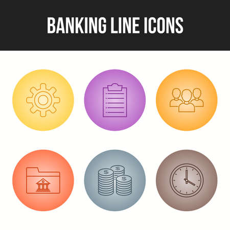 6 Beautiful Banking Line vector icon set