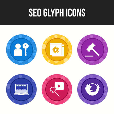 6 Glyph Seo icons for commercial and personal use