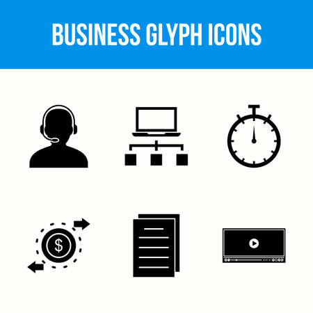 6 Beautiful Business Glyph vector icon set