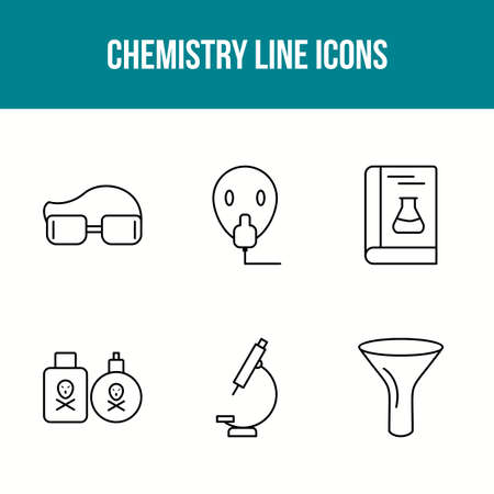 Unique Chemistry Line Vector Icon Set 向量圖像