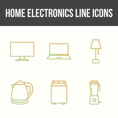 Unique Home Electronics Line Icon Set