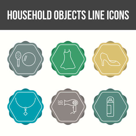 Unique Household Objects Vector Icon Set Illustration