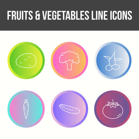 Unique Fruits and Vegetable Vector Icon Set