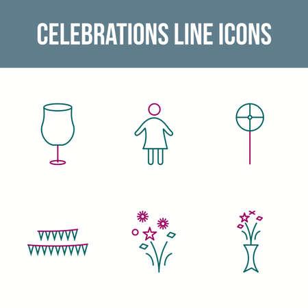 6 Celebrations Vector Icon Set Illustration