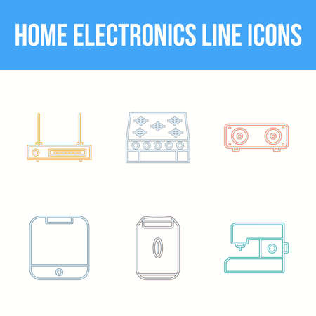 Unique Home Electronics Line Icon Set