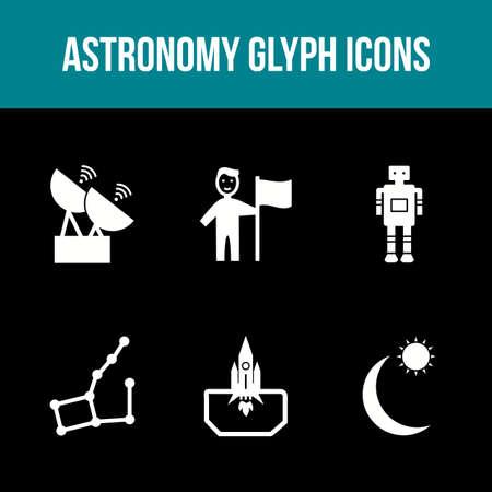 Unique Astronomy Glyph Vector Icon Set 免版税图像 - 157540932