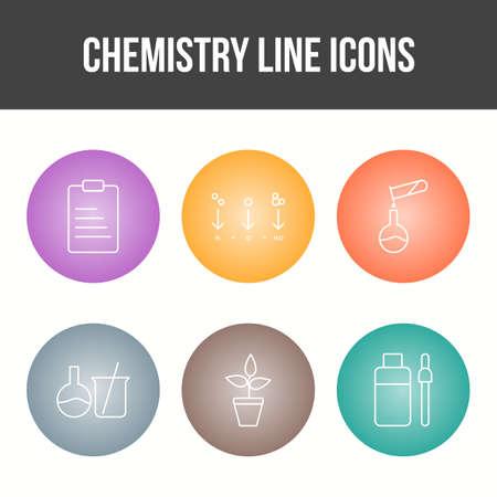 Unique Chemistry Line Vector Icon Set Çizim