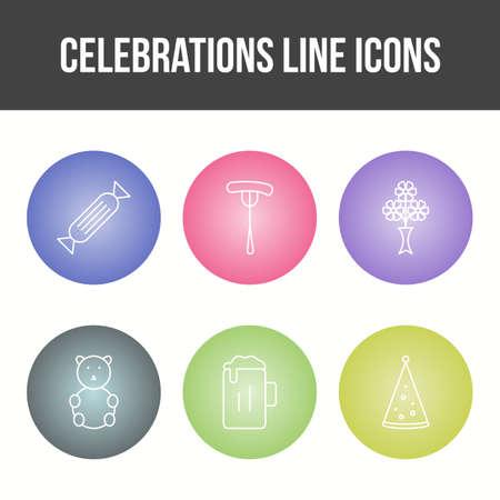 Unique Celebration Line Vector Icon Set 免版税图像 - 157540940