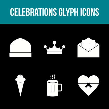 Unique Celebration Glyph Vector Icon Set 免版税图像 - 157540951