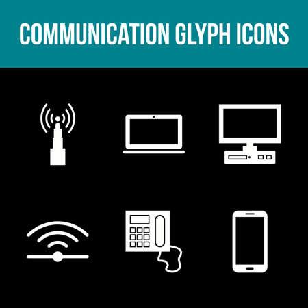 Unique Communication Glyph Vector Icon Set Çizim