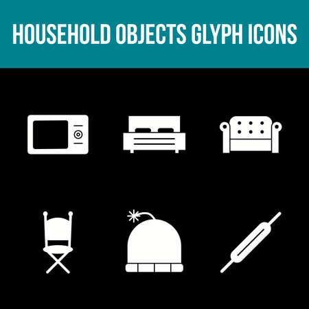 Unique Household Objects Vector Icon Set Çizim