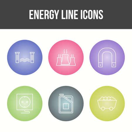 Beautiful Unique Energy Vector Icon Set Çizim