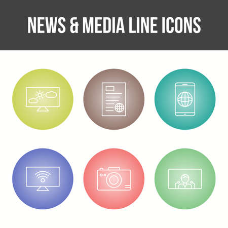 Unique News and Media Vector Icon Set 免版税图像 - 157540906