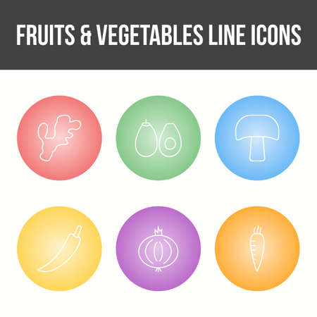 Unique Fruits and Vegetable Vector Icon Set 免版税图像 - 157540874
