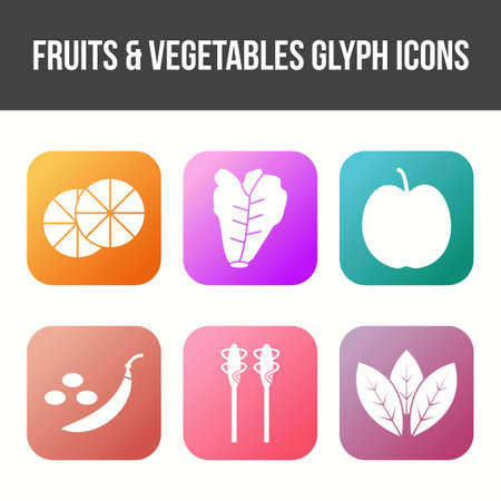 Fruits and Vegetable Vector Glyph Icon Set Çizim