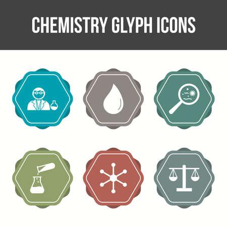 Unique Chemistry Glyph Vector Icon Set 免版税图像 - 157540880
