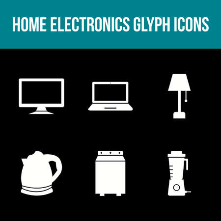 Unique Home Electronics Glyph Icon Set 免版税图像 - 157540882