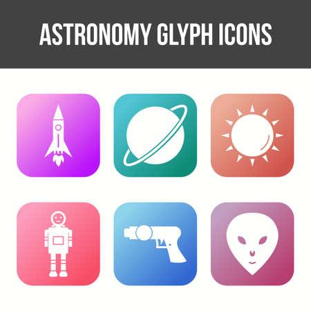 Unique Astronomy Glyph Vector Icon Set 免版税图像 - 157540884