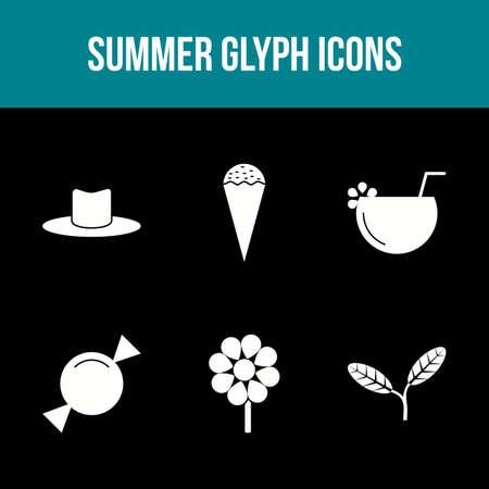 Unique Summer Glyph Vector Icon Set Çizim
