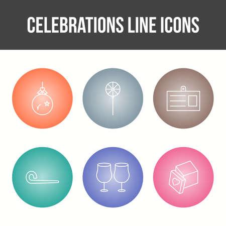 Unique Celebration Line Vector Icon Set Çizim