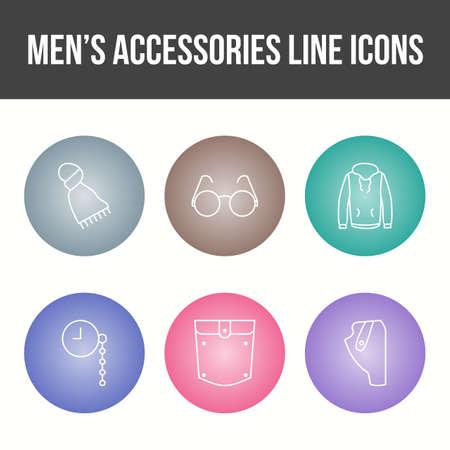 Men's Accessories Vector Icon Set