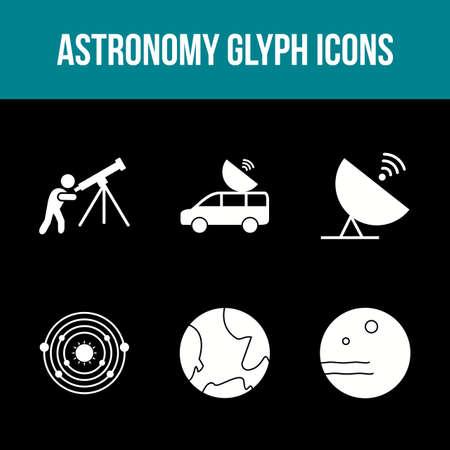 Unique Astronomy Glyph Vector Icon Set