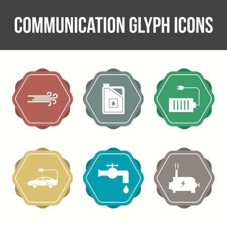 Unique Communication Glyph Vector Icon Set Ilustração