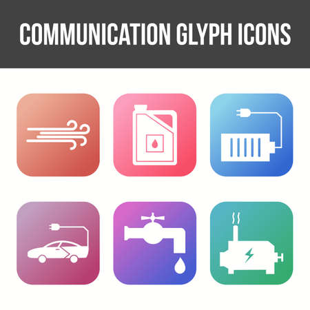 Unique Communication Glyph Vector Icon Set Banco de Imagens - 157536142