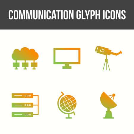 Unique Communication Glyph Vector Icon Set 矢量图像