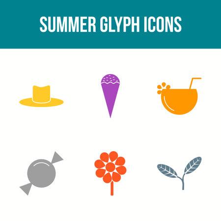 Unique Summer Glyph Vector Icon Set