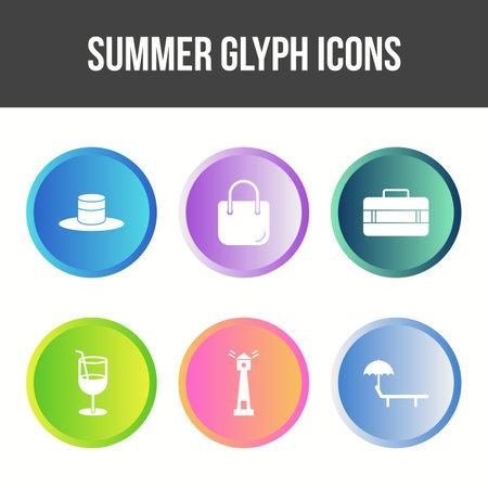 Unique Summer Glyph Vector Icon Set Vetores